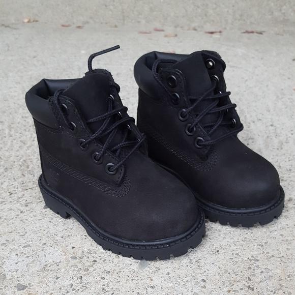 timberland boys black boots